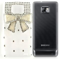 Samsung Galaxy I9100 Ivory Snap On 3D Bow Charm rhinestone cell phone Case 75d23f46bc0b
