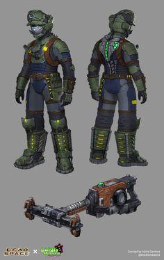 Dead Space X Luigi's Mansion, Alpha Gamboa Fantasy Character Design, Character Design Inspiration, Character Art, Armor Concept, Weapon Concept Art, Dead Space Suits, Space Armor, Super Mario Art, Luigi's Mansion