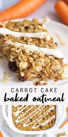 This carrot cake baked oatmeal is fancy enough to serve for a special brunch but easy and healthy enough to make for your weekly meal prep. Made with raisins, carrots, pineapple and walnuts. Sweetened with a touch of maple syrup. Healthy Carrot Cakes, Healthy Breakfast Recipes, Healthy Baking, Healthy Desserts, Healthy Recipes, Healthy Drinks, Healthy Food, Healthy Bars, Nutrition Drinks
