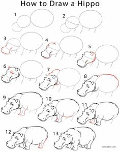 Hippopotamus drawing how to draw a how to draw a hippo step by step drawing tutorial with hippo cartoon drawing Cartoon Drawings Of Animals, Animal Sketches, Art Drawings Sketches, Disney Drawings, Easy Drawings, Cartoon Drawing Tutorial, Cartoon Girl Drawing, Cartoon Girls, Drawing Lessons