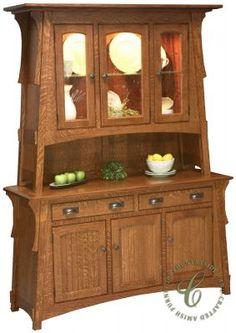 Amish Craftsman Mission Hutch China Cabinet 3956 | China Cabinet ...
