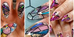 Trending Nail Art: Stained Glass Nails Will Level Up Your Manicure Game Fall Nail Trends, The Art Of Nails, Drip Nails, Diamond Nails, Halloween Nail Art, Nail Bar, Make Me Up, Bling Nails, Nailed It
