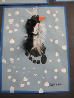 Footprint penguin craft  {need black and white feathers, too} - could just use cotton balls for the white instead of feathers.