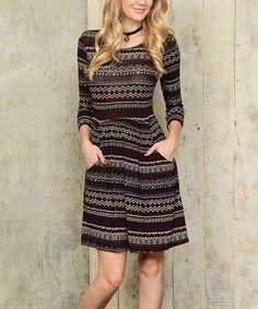 Love this Burgundy & Black Geometric Stripe Pocket Scoop Neck Dress on #zulily! #zulilyfinds