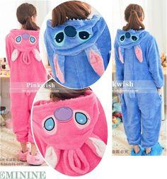 HOT Unisex Kigurumi Anime Cosplay Costume Pajamas Fancy dress Stitch Onesie | eBay STITCH! :D