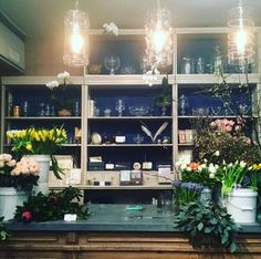 The vases & vessels wall at our flagship store set center stage for the flower arranging class we hosted last night! #flowerpower