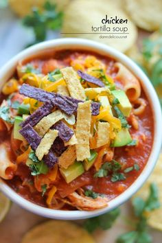 Chicken Tortilla Soup - A quick and easy, no-fuss chicken tortilla soup with so many amazing flavors.