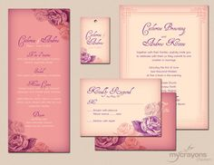 Shabby Chic Rosy Retro Wedding Invitation Set in Purple, Blush Pink and Cream by MyCrayonsPapeterie