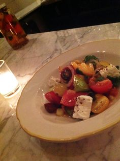 Tomato Salad with olives, jalapeno, feta  lemon zest #WBLC #Food