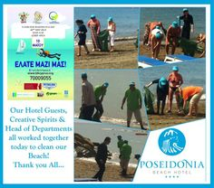 Environmental Activity at the Poseidonia Beach Hotel! Beach Cleaning with Hotel Guests, Creative Spirits & Head of Departments...Thank you all! — at Poseidonia Beach Hotel.