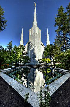 The Reflecting Pool at the Portland Oregon Temple of the LDS Church.