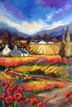 Stunning colors landscape flower fields painting, marlise le roux Abstract Landscape Painting, Landscape Art, Landscape Paintings, Farm Paintings, African Art Paintings, South Africa Art, Pastel Gras, Tuscan Art, Cottage Art