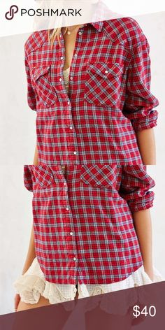 Urban Outfitters flannel Red flannel with lace lining the inside and peeking out the bottom, warm, big, and comfy BDG Tops Button Down Shirts