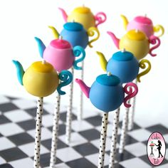Alice in Wonderland Whimsical teapot cake-pops by Cakes by Tali - For all your cake pop decorating supplies, please visit http://www.craftcompany.co.uk/cake-pops.html