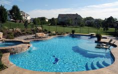 My pool will probably be half that size! Inground Swimming Pools Gallery - Arista Pool and Spa, Inc. Backyard Pool Designs, Swimming Pool Designs, Pool Landscaping, Inground Pool Designs, Backyard Pools, Kids Swimming, Backyard Ideas, Pool Spa, My Pool