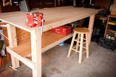 And your grandmother could build it. It takes 8 hours, it costs $111 and it needs a bare minimum of tools to complete. These are all things that ring quite nicely in my ears - and they are all reasons why I decided to build this workbench. Everything I do requires a vast amount of table space, some…
