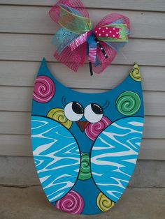 "Approx. 33"" Owl door hanger. Can be customized w/any color/design choices & personalized at no extra cost! $40. Check out my facebook page (Blue Pickle Designs) for lots more items & ordering!!"