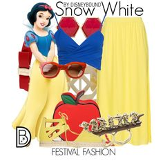 Snow White by leslieakay on Polyvore featuring Aquazzura, Nila Anthony, Salvatore Ferragamo, Trina Turk LA, Disney Couture, Humble Chic and Thierry Lasry