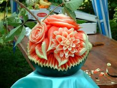This beautiful sculpture is made from a watermelon!
