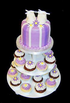 Purple Baby Shower Cupcake tower