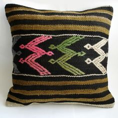 Sukan Hand Embroidered-Turkish Antique Kilim Pillow Cover #pillow