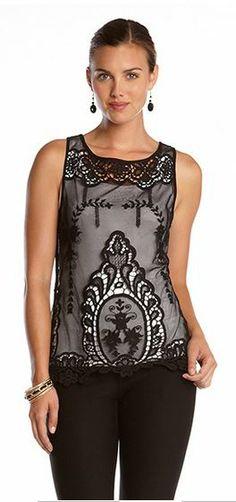 Elegant Karen Kane Black Lace Top! Stylish Elegance for Day or Night Karen Kane Black Lace Fashion