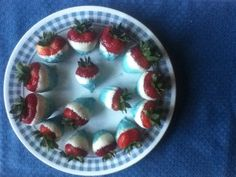 Patriotically-dipped strawberries I made for the Fourth of July!  You could use any color food coloring and dip the strawberries fully in the white chocolate for any party color theme.