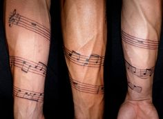 """The start of a sleeve; the notes on the staff are the intro to """"wish you we're here"""" by Pink Floyd."""