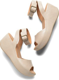 Kork-Ease K29117 | Spring 2014 |  Carolyne TAUPE | $150.00 A retro-inspired ankle strap with a leather-wrapped wedge.