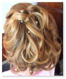 Flowergirl Chin Length Blonde Half Up Soft Curls - Back