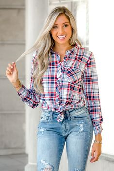 fd502dd00ec Pretty in Plaid Red Navy Button Down Top - Shop Simply ME Boutique SMB –  Simply