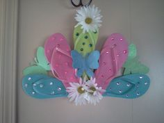 Flip Flop door hanging......Made from materials at the dollar store.