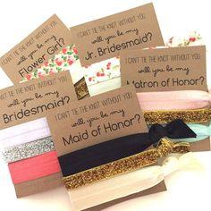 Will You Be My Bridesmaid | Bridesmaid Proposal Hair Tie Set | Each set has 3 hair ties