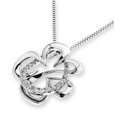 IADFBA  18K/750 White Gold Flower Diamond Pendant by IADJewellery, $359.00