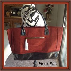 """Suede-feel Fabric Tote - NWOT Rust colored, suede-feel fabric tote. Black vinyl trim mimics patent leather.  Snap closure. 1outside zippered pocket. Large, roomy interior. Approx. 13"""" H x 17 1/2"""" W x 4"""" D  Handle drop is 6 1/4""""  PayPal  Trades  Holds Bags Totes"""
