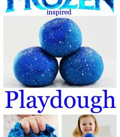 1 cup of flour cup of salt 2 tbs of cream of tartar 1 tbs of oil Blue food colouring 1 cup of boiling water Blue and/or silver glitter Frozen Playdough, Glitter Playdough, Homemade Playdough, Glitter Face, Green Glitter, Silver Glitter, Glitter Eyeshadow, Frozen Birthday Party, Frozen Party