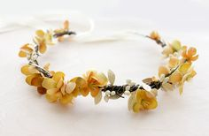 Mustard Yellow Flower Crown floral crown by rosesandlemons on Etsy, $45.00