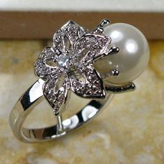 WHITE PEARL 925 STERLING SILVER RING SIZE #5 6 7 8 9 10 11 12  TR130
