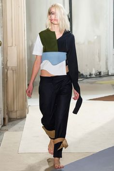 Jacquemus, Fall 2015- the way the designer has collaged a series of elements within a single look is extremely succesful. Balance is created through the asymmetry of the design which allows the opposing elements to sit cohesively. image via- style.com