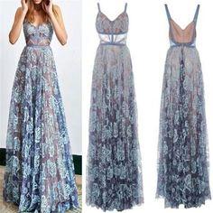 2018 Blue Lace Sexy Popular Prom Dresses, Fashion Party Dress, Spaghetti Straps Prom Dress, PD0420