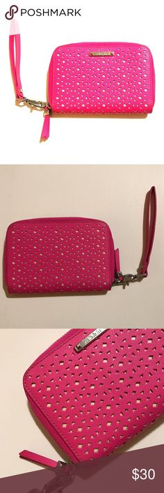 """Stella & Dot Chelsea Tech Wallet Wristlet Gently Used, glow pink, perforated. 4"""" H x 6"""" L x 1.5"""" W. wrist strap can be removed. Stella & Dot Accessories Key & Card Holders"""