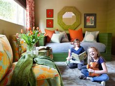 A Kids' Room Makeover the Whole Family Can Enjoy A Space for Kids + Parents | http://www.hgtv.com/kids-rooms/a-kids-room-makeover-the-whole-family-can-enjoy/pictures/page-3.html | celery, olive, blue-gray, tangerine