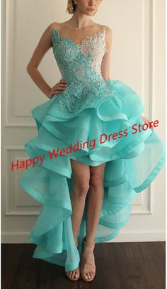 Vestido De Renda High Low Ruffled Organza Evening Dress With Appliques Popular Sleeveless Tank O Neck Beaded Women Prom Gowns-in Evening Dresses from Weddings & Events on Aliexpress.com | Alibaba Group