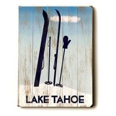 Artehouse 14 x 20 in. Tahoe Ski Wood Sign