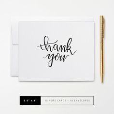 Flat or Folded Note Cards // Set of 10 // Simple Black & White Brush Calligraphy Thank You Card // Personalized Stationery by k8inked