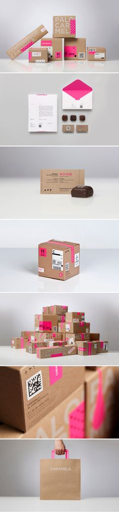 Caramela identity by Anagrama - praliné packaging pink cardboard Brand Identity Design, Graphic Design Branding, Corporate Design, Packaging Design Inspiration, Graphic Design Inspiration, Photoshop, Grafic Design, Type Logo, Design Visual