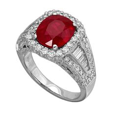 RR22406: A 3.01ct ruby ring made in 18K white gold with 1.21ct G/VS round diamonds and 0.6ct G/VVS baguetter diamonds | www.goldcasters.com