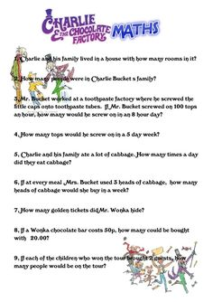 charlie and the chocolate factory activities google search charlie and the chocolate factory maths