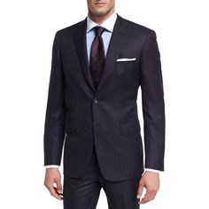 Brioni Tonal-Stripe Wool Two-Piece Suit ($5,450) ❤ liked on Polyvore featuring men's fashion, men's clothing, men's suits, blue, men's apparel suits, brioni men's suits, mens chalk stripe suit, mens blue suit, mens wool suits and mens two piece suits