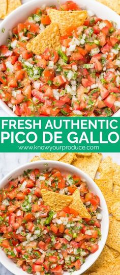 pico de gallo recipe authentic mexican appetizer Pico de Gallo is a must have appetizer recipe for entertaining. We're showing you how to make this Authentic Pico de Gallo Recipe at home. Authentic Mexican Recipes, Mexican Salsa Recipes, Mexican Dishes, Mexican Entrees, Mexican Sauce Recipe, Mexican Food Buffet, Mexican Snacks, Authentic Food, Vegetarian Recipes
